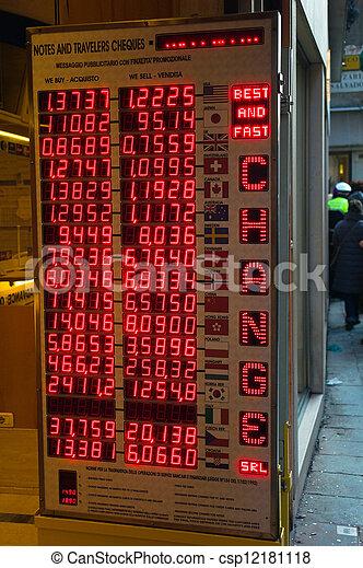 Stock de fotograf a de moneda curso oficinas tabla - Oficinas de cambio de moneda ...