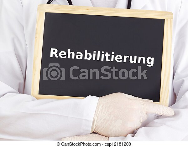 Doctor shows information: rehabilitation - csp12181200