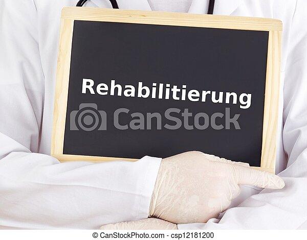 Doctor shows information: rehabilitation - csp12181200