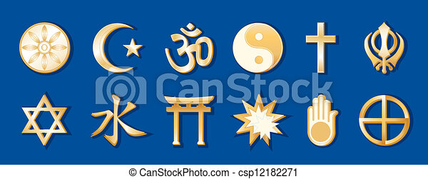 World Religions, Blue Background - csp12182271