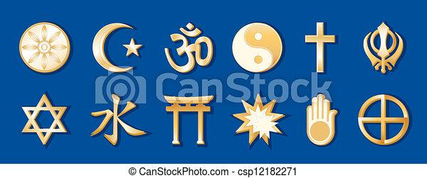 World Religions, Blue Background - csp12182271