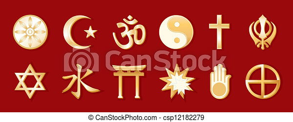 World Religions, Red Background - csp12182279