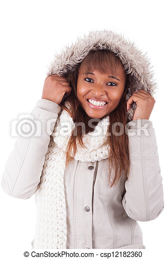 Young african american woman wearing winter clothes - csp12182360