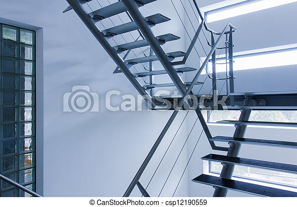 Emergency exit by a stairwell in a modern building - csp12190559