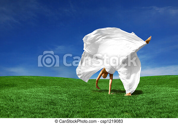 Cartwheeling Bride Outdoors - csp1219083