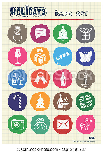 Christmas and other holidays icons - csp12191737