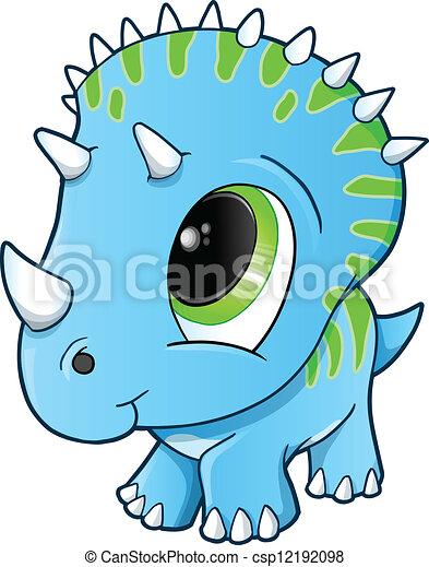 Cute Baby Triceratops Dinosaur  - csp12192098