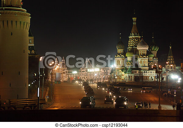 MOSCOW - APRIL 26: Military hardware on Red Square. Rehearsal for Victory Day parade, on April 26, 2011 in Moscow, Russia. - csp12193044
