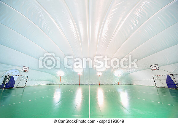 Empty indoor sports ground, plastic white ceiling and walls, green floor
