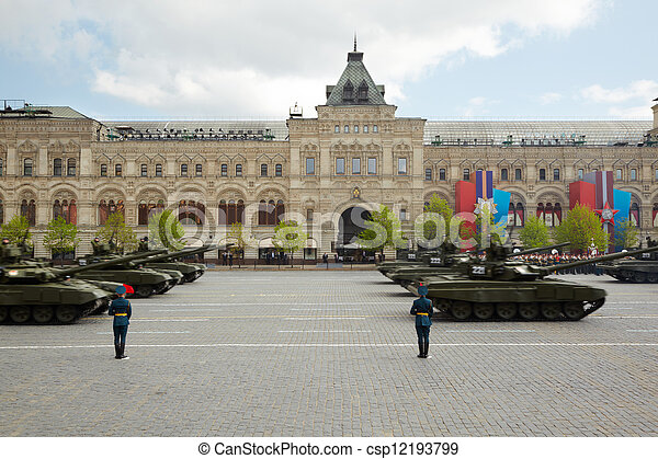 MOSCOW - MAY 9: Tank column marches on 66-th Victory Day celebration on Red Square, May 9, 2011, Moscow, Russia.