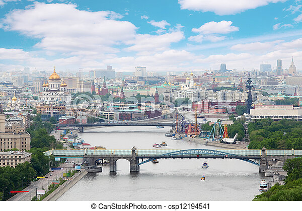 Pushkinsky and Krymsky bridges at day in Moscow, Russia. Panorama of city - csp12194541