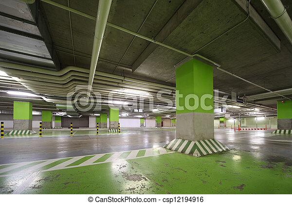 Parking garage of shopping center, underground interior without cars - csp12194916