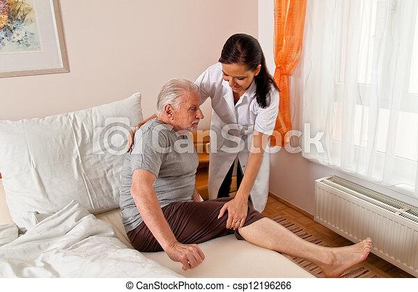 nurse in elderly care for the elderly in nursing homes - csp12196266
