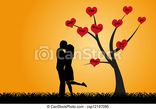 Stock Illustration Of Kissing Couple Under The Tree - Kissing Couple Are Standing... Csp12197095 ...