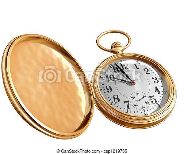 stock illustrations of open pocket watch isolated
