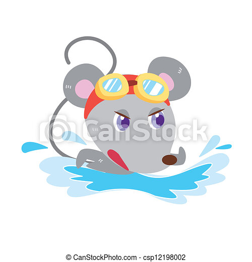 Vector Clipart of a mouse's beach activities - a cute ...