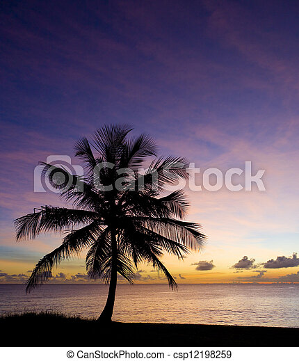 sunset over Caribbean Sea, Barbados - csp12198259
