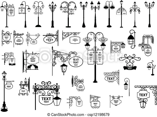 Street Signs and Lanterns - csp12198679