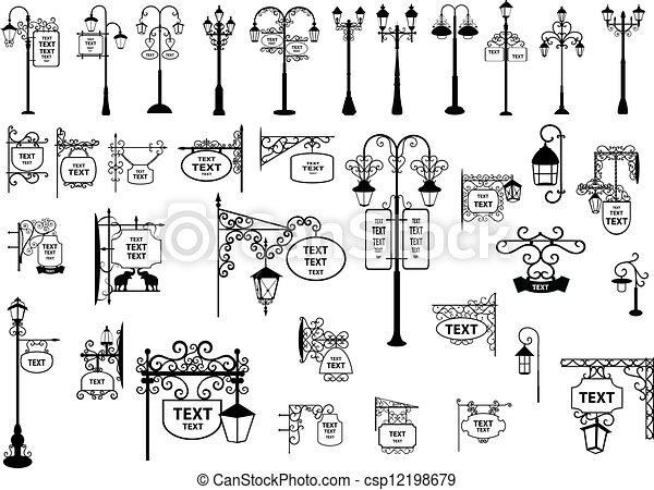 Street Signs and Lanterns - csp12198679