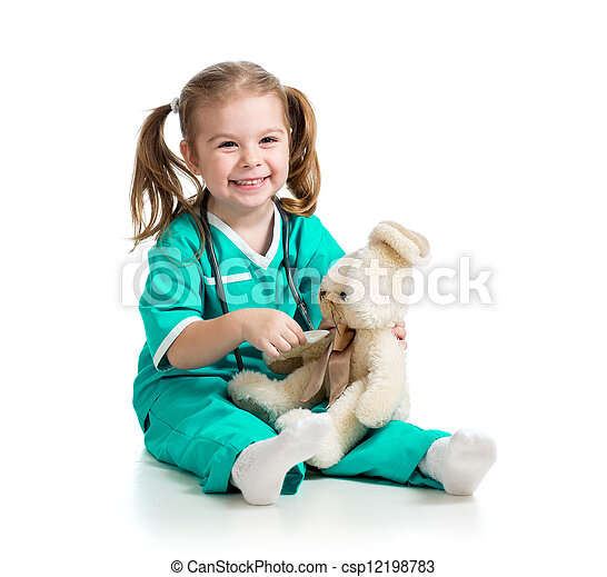 Adorable girl with clothes of doctor spoon playing with toy over white - csp12198783