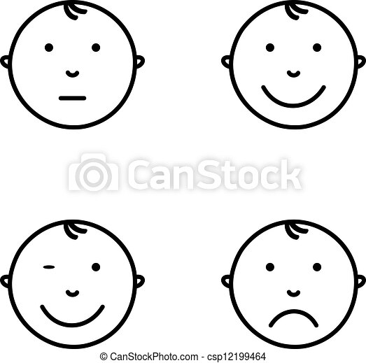 Clip Art Vector of Emotions - Baby face with different emotions ...