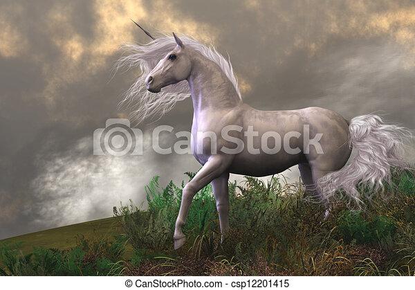 White Unicorn Stallion - csp12201415