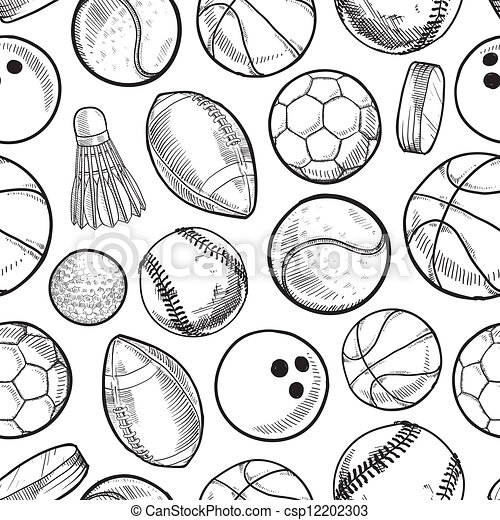 seamless sports background csp12202303 - Sports Drawing Pictures