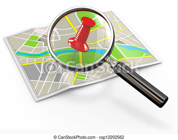 Stock Illustration of Find location. Loupe and thumbtack ...
