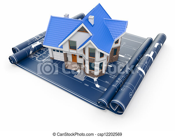 Residential house on architect blueprints. Housing project. - csp12202569