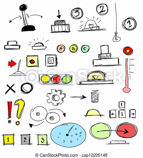 Illustration set of hand drawn buttons switch stock illustration