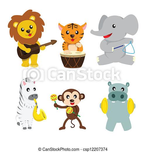 Animals playing music - csp12207374