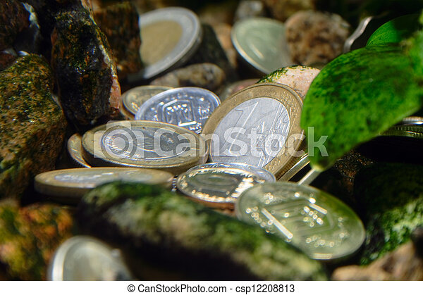 differents coins - treasure on the river bottom - csp12208813