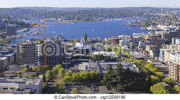 Seattle downtown, South Lake Union areal view from Virginia. - csp12209196