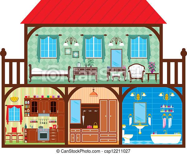 Vektor illustration von haus schnitt haus in a for How can design my house