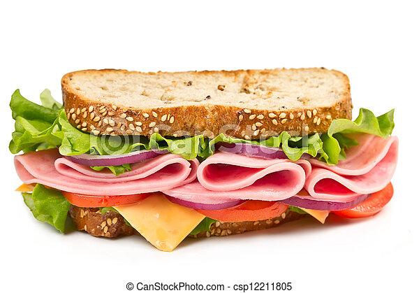 tomate, queijo, presunto, sanduíche - csp12211805