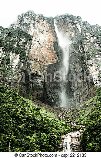 Angel Falls ( Salto Angel ) is worlds highest waterfalls (978 m), Venezuela - csp12212133