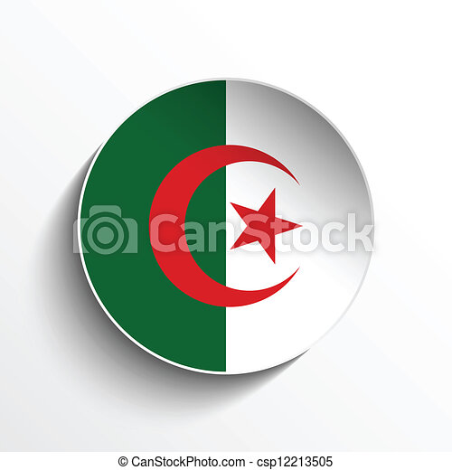 Algeria Flag Paper Circle Shadow Button - csp12213505
