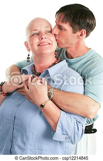 paciente, cáncer, ella, marido - csp12214845