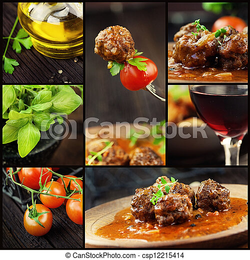 Food collage - meat balls - csp12215414