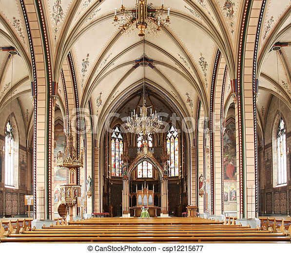 catholic church interior - csp12215677