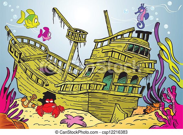 Vector Of Wreck The Illustration Shows A Sunken Ancient Ship On Csp12216383 Search Clip