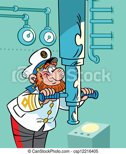 Vector Clipart Of Captain Near The Periscope The