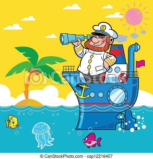 clipart vettoriali di cartone animato  capitano nave Sole Fish Clip Art Vector Graphics of the Sole of a Shoe