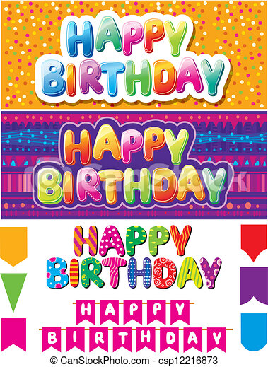 Set of colorful happy birthday texts - csp12216873