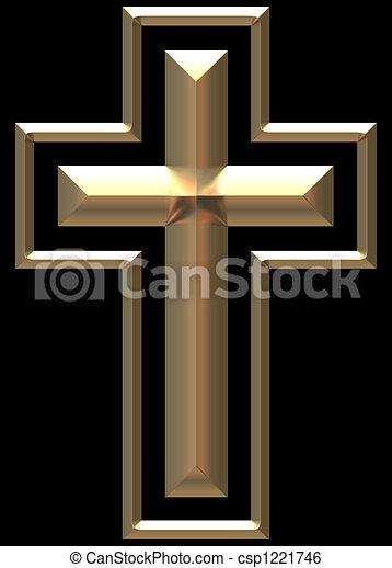 Gold Chromed Cross illustration - csp1221746