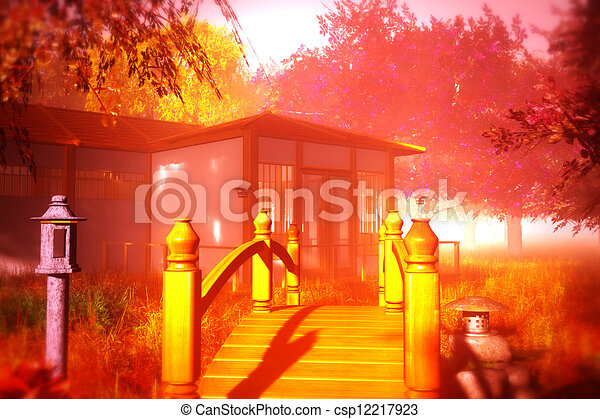 Clip Art Of Traditional Japanese House And Bridge In Japanese
