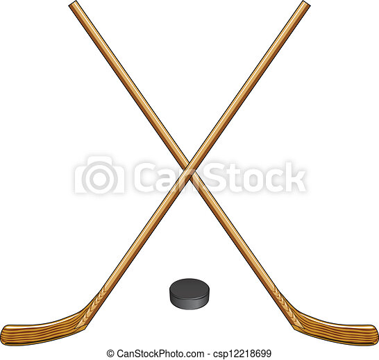 Illustration of two crossed ice hockey sticks and a hockey puck.