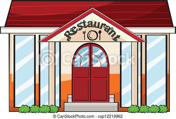 Restaurant building clipart  Clip Art Vector of A restaurant - Illustration of a restaurant on ...