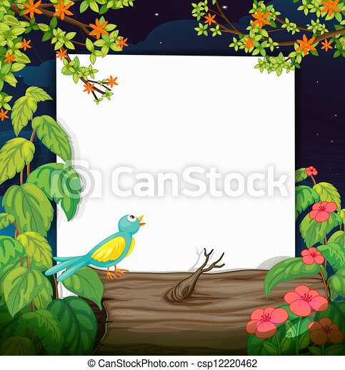 A bird and a white board - csp12220462