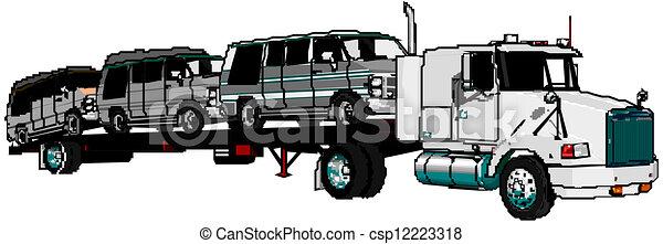 Semi Truck Side View Vector Vector Semi Truck